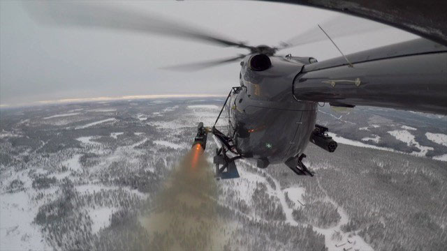 Airbus Helicopters performing firing trials with laser-guided rockets at Älvdalen Firing Range