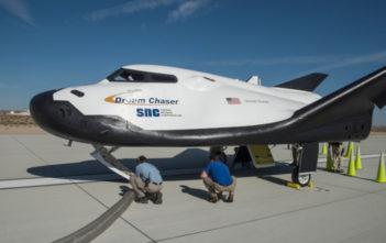 Dream Chaser spacecraft on the ground