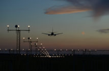 Aircraft landing at airport