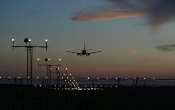 Aircraft landing at airport