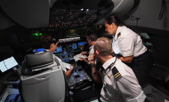Cockpit with flight crew