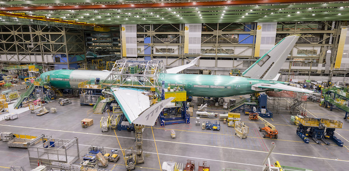 The final body join of 777X flight test aircraft No.1 was conducted by Boeing engineers at the end of 2018