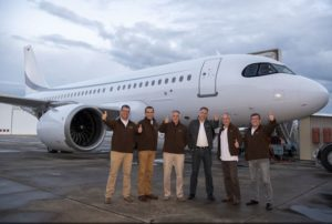 The five-person flight crew on the ACJ319neo's record-setting 16 hour, 10 minute test flight
