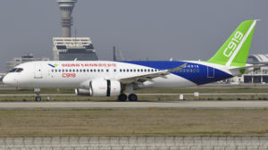 The C919 at Shanghai Pudong airport during flight testing (Photo: Shimin Gu)