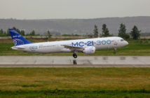 The second MC-21-300 with the latest livery takes off for a flight test