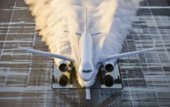 The Airbus A320neo during a flooded test, conducted as part of its certification campaign