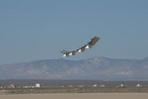 The HAWK30 drone during its first flight at the NASA Armstrong Flight Research Center, California