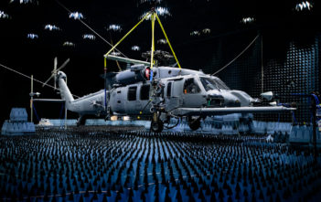 HH-60W hangs in the anechoic chamber