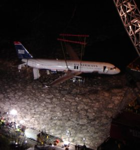 US Airways Flight 1549 is lifted out of the Hudson after its now famous ditching in 200