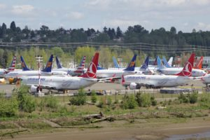 Undelivered Boeing 737 Max aircraft stored near Boeing Field in Seattle, Washington