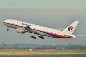 A Malaysia Airlines Boeing 777-200ER taking off at Roissy-Charles de Gaulle Airport in France, the aircraft that was lost at sea in 2014