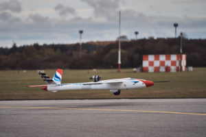 The FLEXOP flight demonstrator lands after its 25 minute maiden flight last November