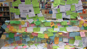 Messages of hope and prayers at a bookstore in Malaysia shortly after Flight MH370 disappeared