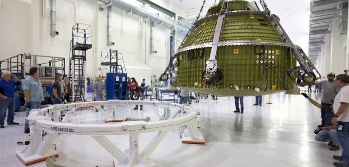 The Orion crew module and test stand