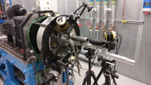 The Bearing Oil Shedding rig is used to analyze the behavior of oil within jet engine transmissions