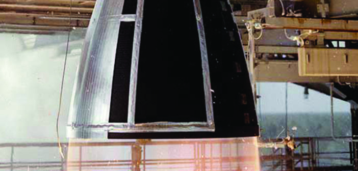 n RS-68 engine undergoing hot-fire testing at NASA's Stennis Space Center