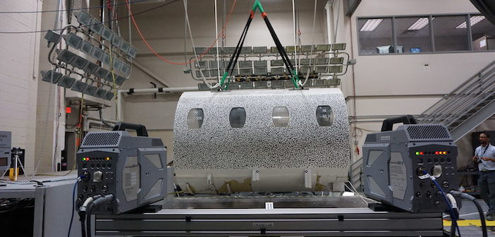 Fuselage covered with a speckled pattern for Digital Image Correlation