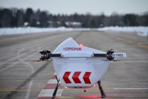 Drone Delivery Canada's Sparrow drone use flight management software that has an integrated logistics capability