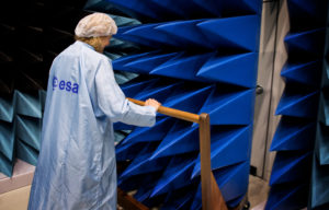 Spiky foam covers the walls of the Maxwell Test Chamber, used for assessing the electromagnetic compatibility of entire satellites