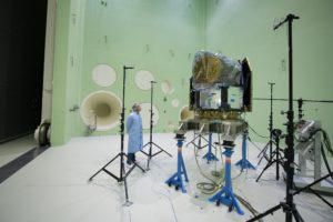 ESA's CHaracterising ExOPlanet Satellite (Cheops) being tested in the Large European Acoustic Facility at ESTEC, Holland