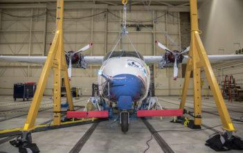 NASA's all-electric X-57 Maxwell prepares for ground vibration testing at NASA's Armstrong Flight Research Center in California Credits: NASA Photo / Lauren Hughes
