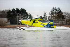 The first flight test of the eBeaver prototype during take-off on December 10, 2019 from Vanvouver Canada