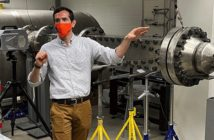 Chris Combs with wind tunnel